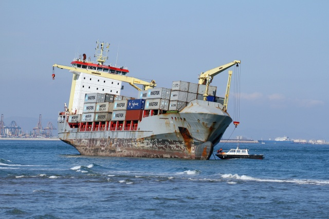24152409 - container ship awreck on the beach