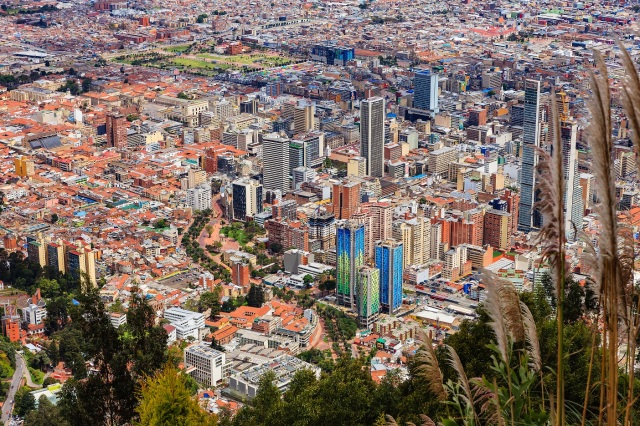 Bogota, Colombia - view of capital city downtown from Monserrate